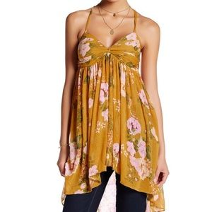 Free People Mirage Tunic Tank Top Yellow Mustard S